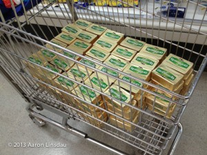 Polar expedition food   shopping cart of butter