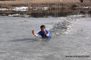 Crossing an icy pond
