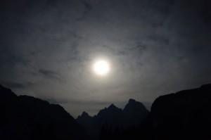 Moon over Cascade Canyon
