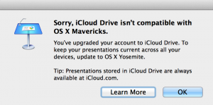 iCloud drive isn't compatible with Mavericks